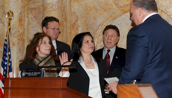 Senator Dawn Marie Addiego Taking the Oath of Office