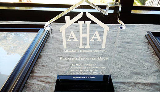 Beck Honored by Affordable Housing Alliance