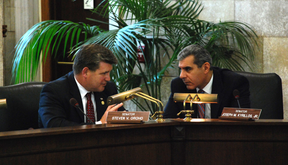 Senators Oroho and Kyrillos Conferring During Economic Growth Committee Meeting