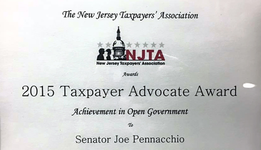 Senator Pennacchio Honored by Taxpayer Group as Advocate for Open Government