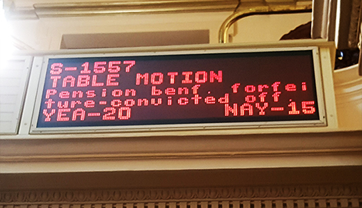 Senate Democrats Again Block Vote on Beck's Pension Forfeiture Bill