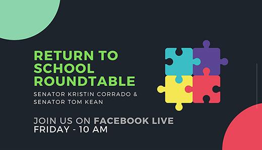MEDIA ADVISORY (5/7): Corrado & Kean to Livestream Return to School Roundtable